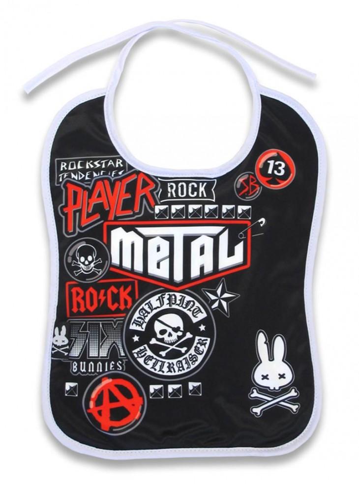 """Bavoir Rock Metal Six Bunnies """"Metal Fan"""""""
