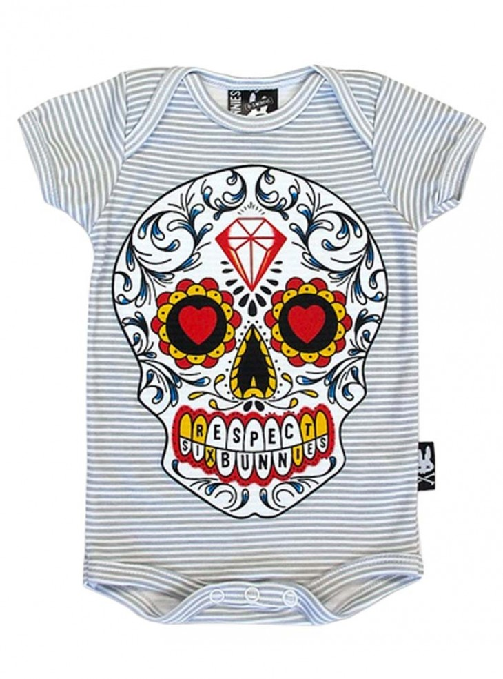"Body Bébé Rock Rockabilly Six Bunnies ""Sugar Skull"""
