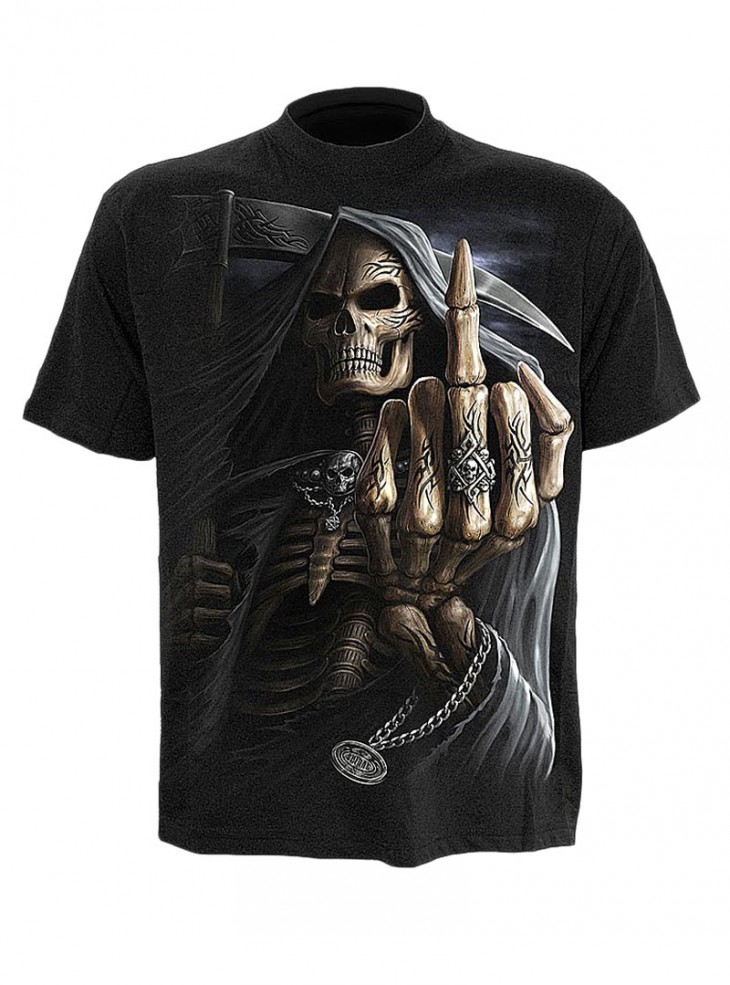 "Tee-shirt gothique rock homme Spiral ""Bone Finger"""