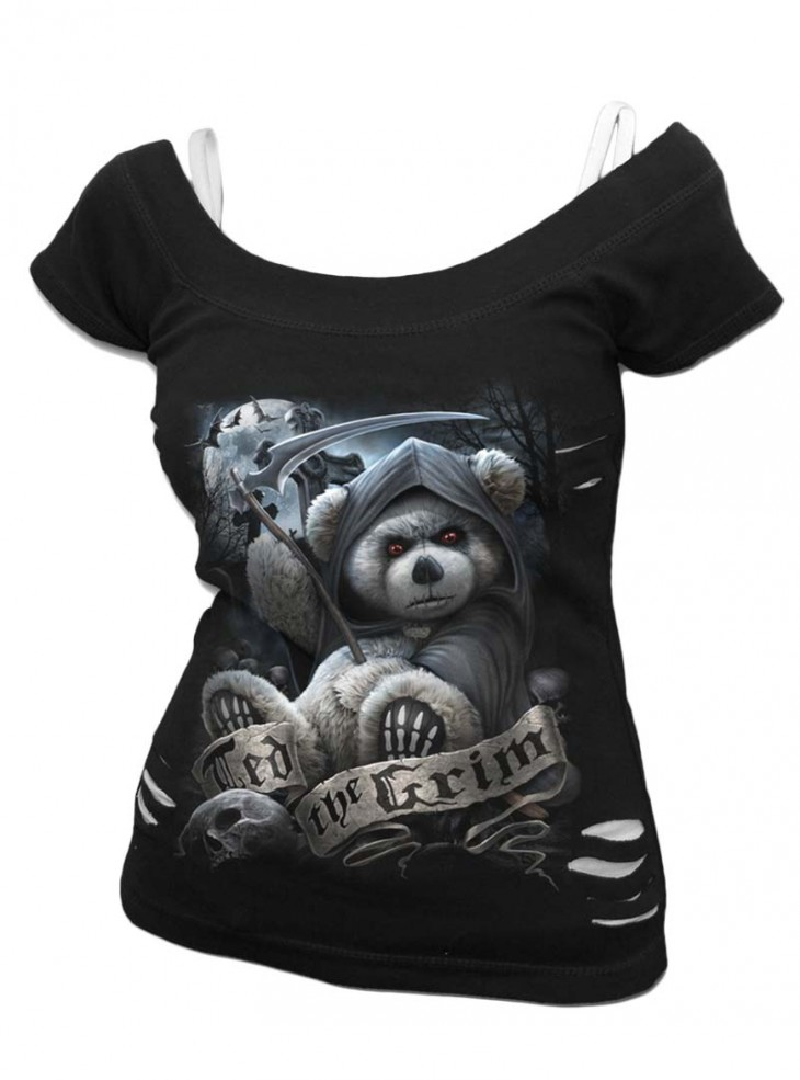 "Débardeur 2 en 1 Gothique Dark Wear Spiral ""Ted The Grim Teddy Bear"""