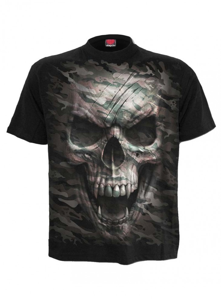 "Tee-shirt homme Rock Gothique Spiral ""Camo Skull"""