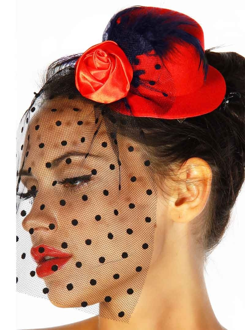 barrette cheveux chapeau ann es 50 rockabilly retro red roses. Black Bedroom Furniture Sets. Home Design Ideas