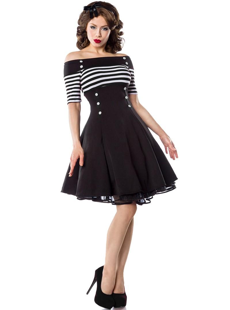 Robe Rockabilly Retro Vintage Belsira Black White Stripes Rockangehell Com