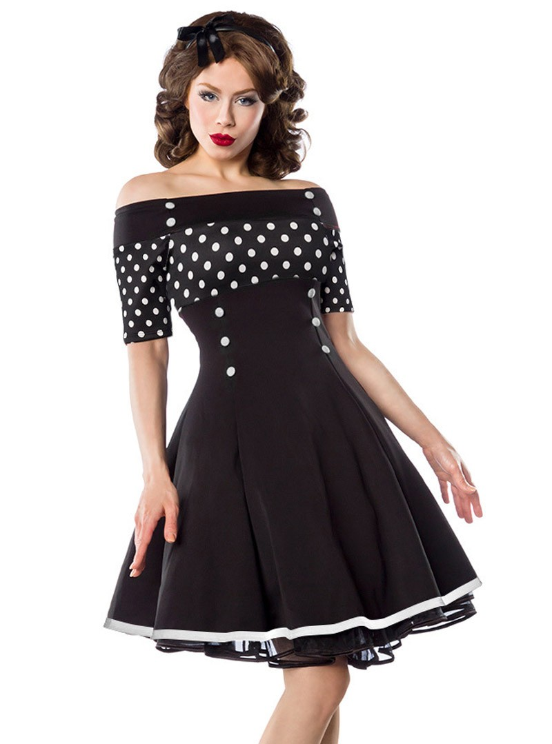 robe pin up rockabilly retro belsira black white dots. Black Bedroom Furniture Sets. Home Design Ideas