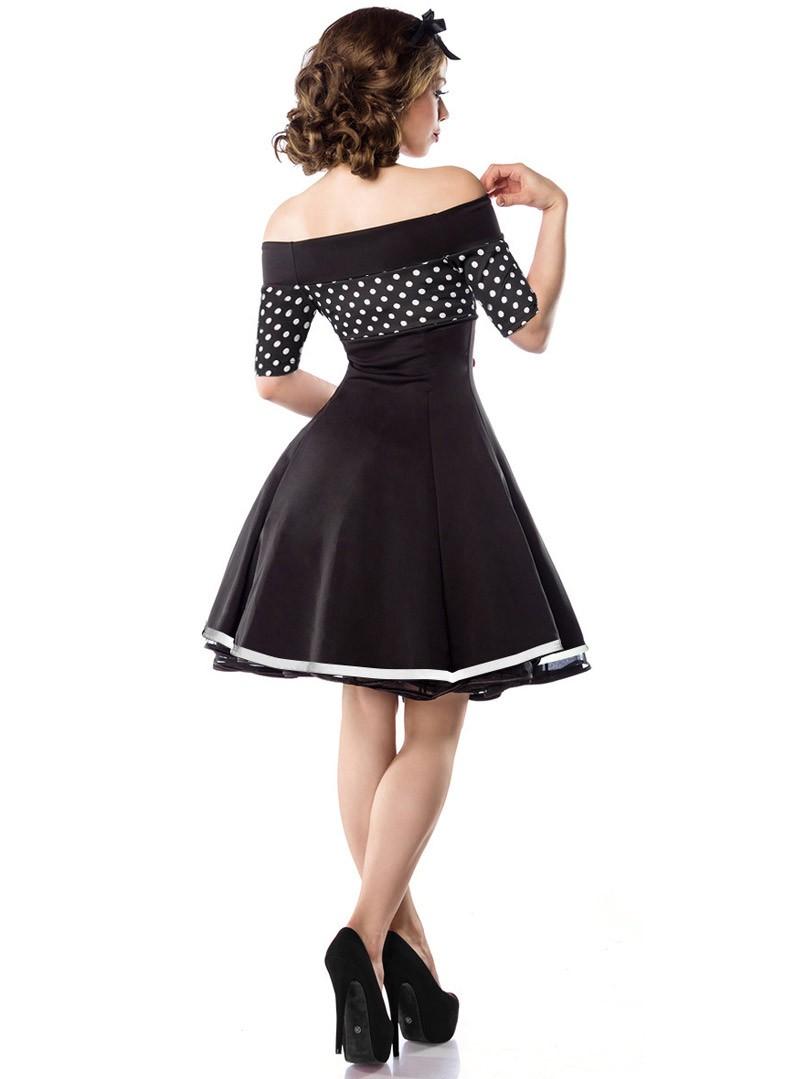 robe pin up rockabilly retro belsira black white dots. Black Bedroom Furniture Sets. Home Design Ideas