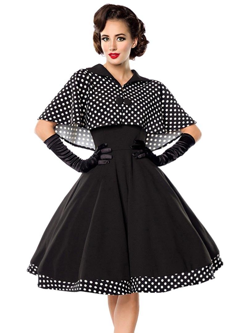 robe cape retro rockabilly pin up ann es 50 belsira black white dots. Black Bedroom Furniture Sets. Home Design Ideas