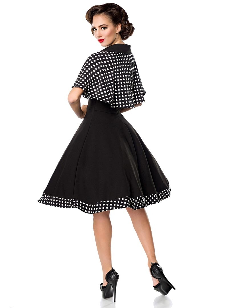 robe cape retro rockabilly pin up ann es 50 belsira black white dots. Black Bedroom Furniture Sets. Home Design Ideas