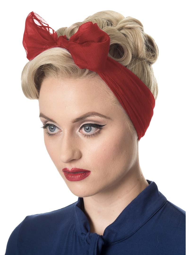 Foulard etole pin up rockabilly ann es 50 banned just red - Pin up annee 40 ...