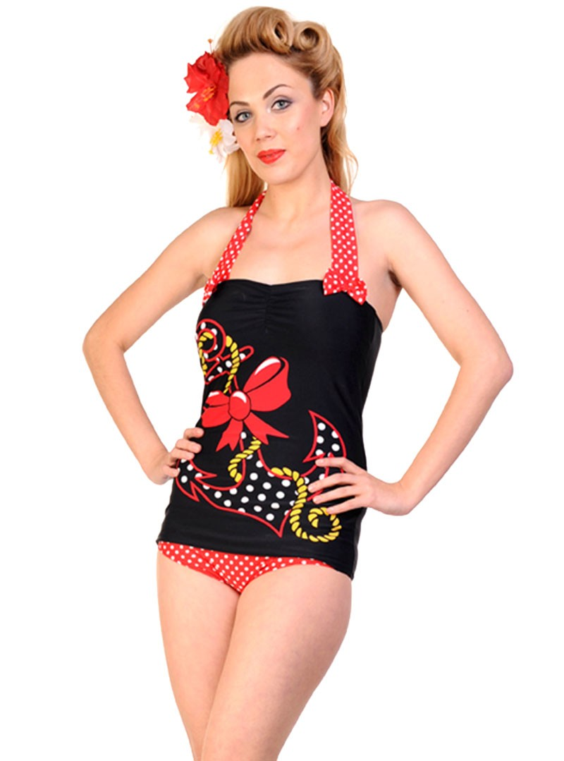 maillot de bain 1 pi ce vintage retro rockabilly banned big anchor. Black Bedroom Furniture Sets. Home Design Ideas