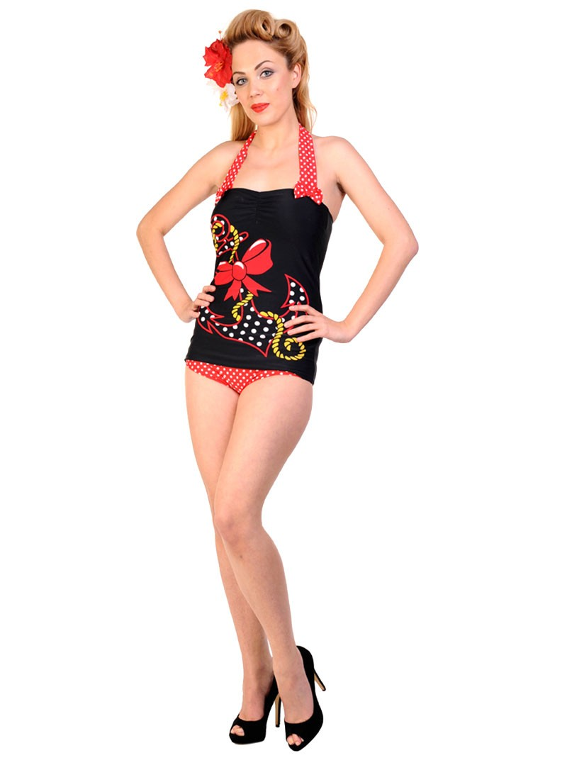 maillot de bain 1 pi ce vintage retro rockabilly banned. Black Bedroom Furniture Sets. Home Design Ideas