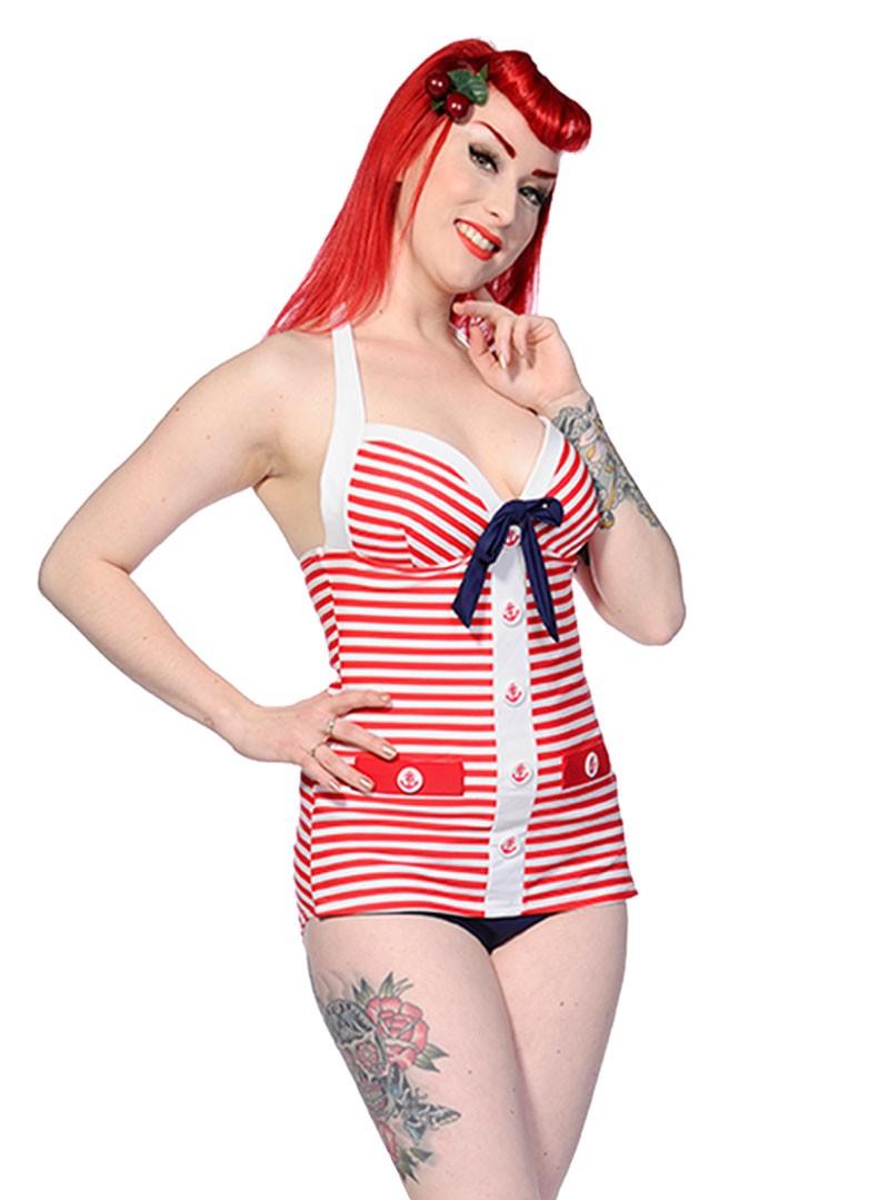 maillot de bain 1 pi ce sailor vintage retro rockabilly banned red white anchor. Black Bedroom Furniture Sets. Home Design Ideas