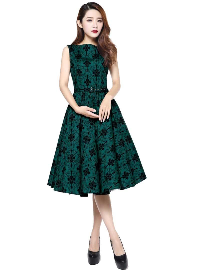 robe ann es 50 rockabilly vintage chicstar audrey green. Black Bedroom Furniture Sets. Home Design Ideas