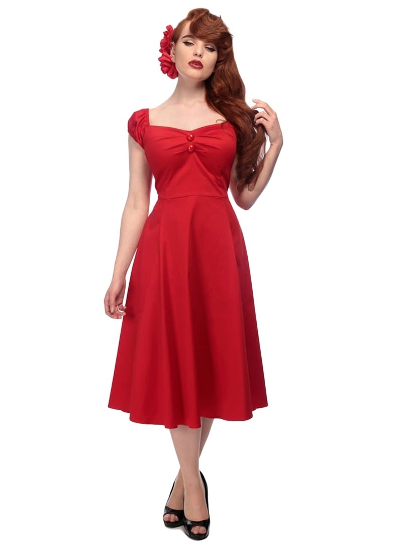 Robe ann es 50 pin up rockabilly retro collectif dolores doll red - Robe pin up annee 50 ...