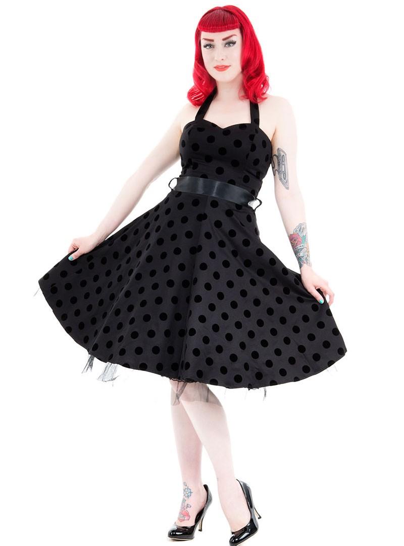 robe mi longue noire vintage h r london black dot. Black Bedroom Furniture Sets. Home Design Ideas