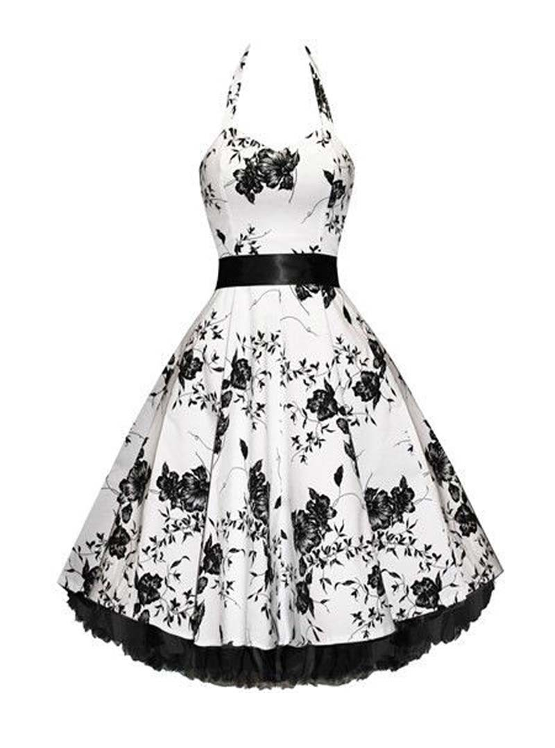 Robe rockabilly vintage hr london white black flowers for Black and white only