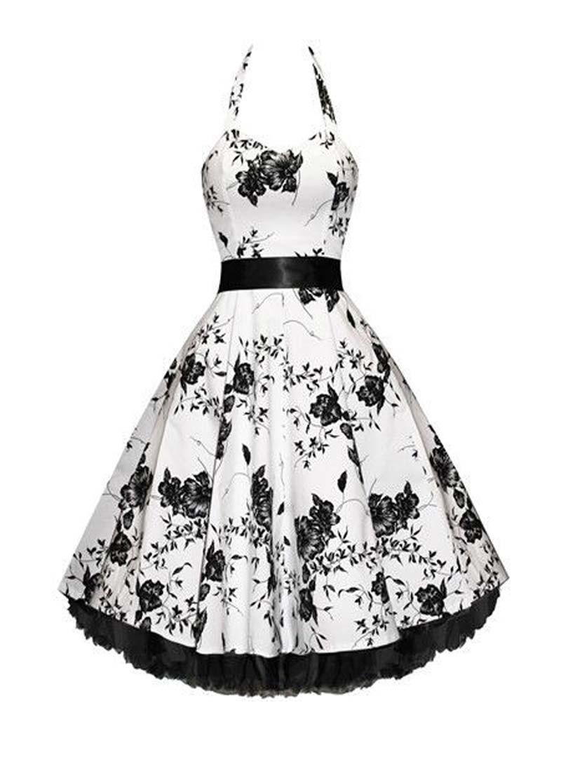 robe rockabilly vintage hr london white black flowers. Black Bedroom Furniture Sets. Home Design Ideas