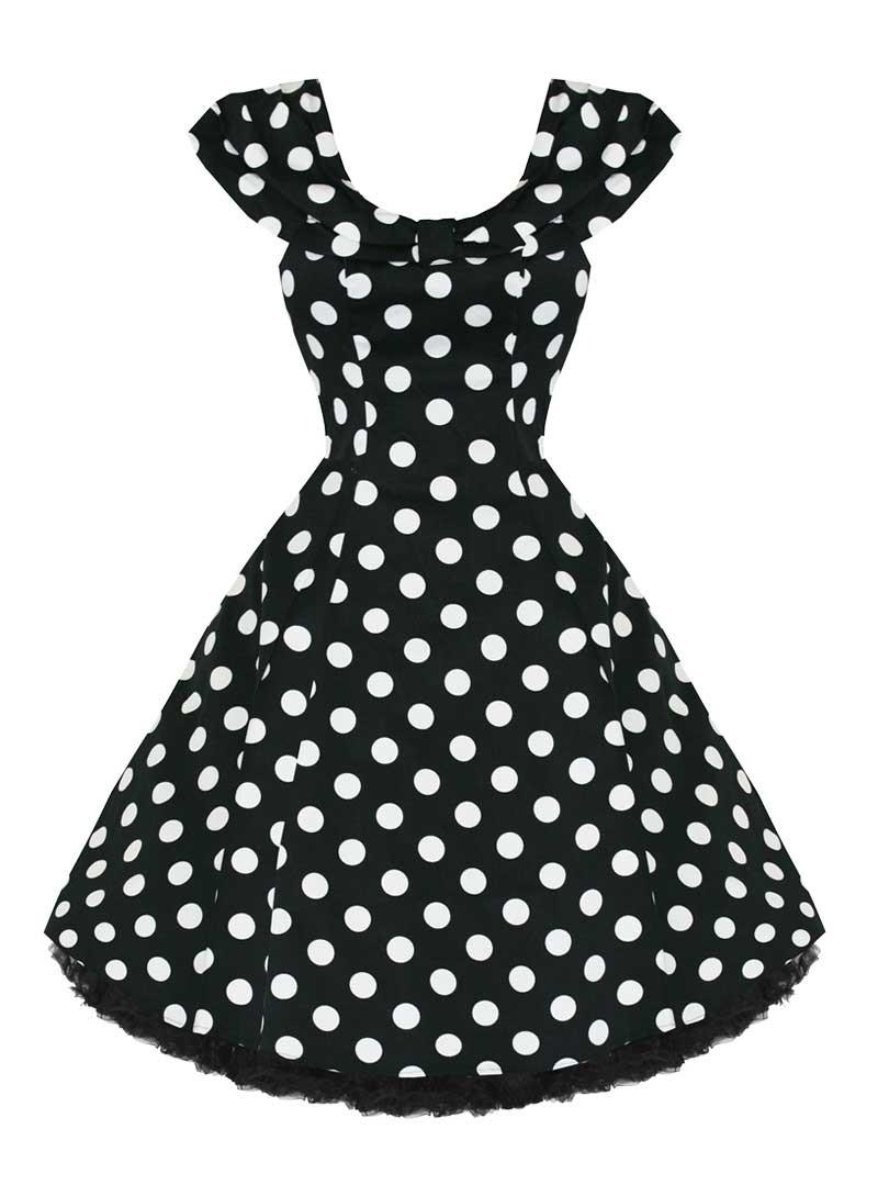 """Vintage Année 50 dedans robe rockabilly vintage années 50 hr london """"black white big dot"""""""