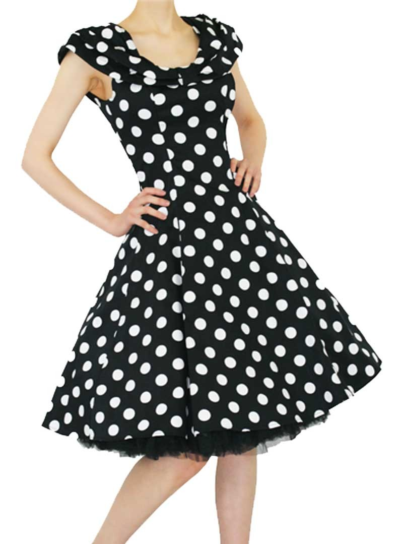 robe rockabilly vintage ann es 50 hr london black white big dot. Black Bedroom Furniture Sets. Home Design Ideas