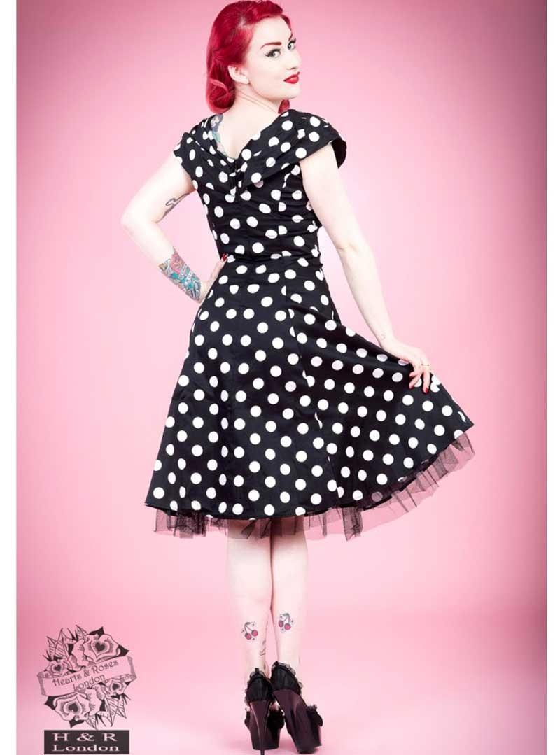 "Vintage Année 50 en ce qui concerne robe rockabilly vintage années 50 hr london ""black white big dot"""