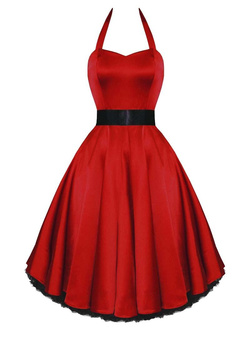 Soirée Satin Robe Pin Hr London Red De Rockabilly Up uK3TlF1Jc