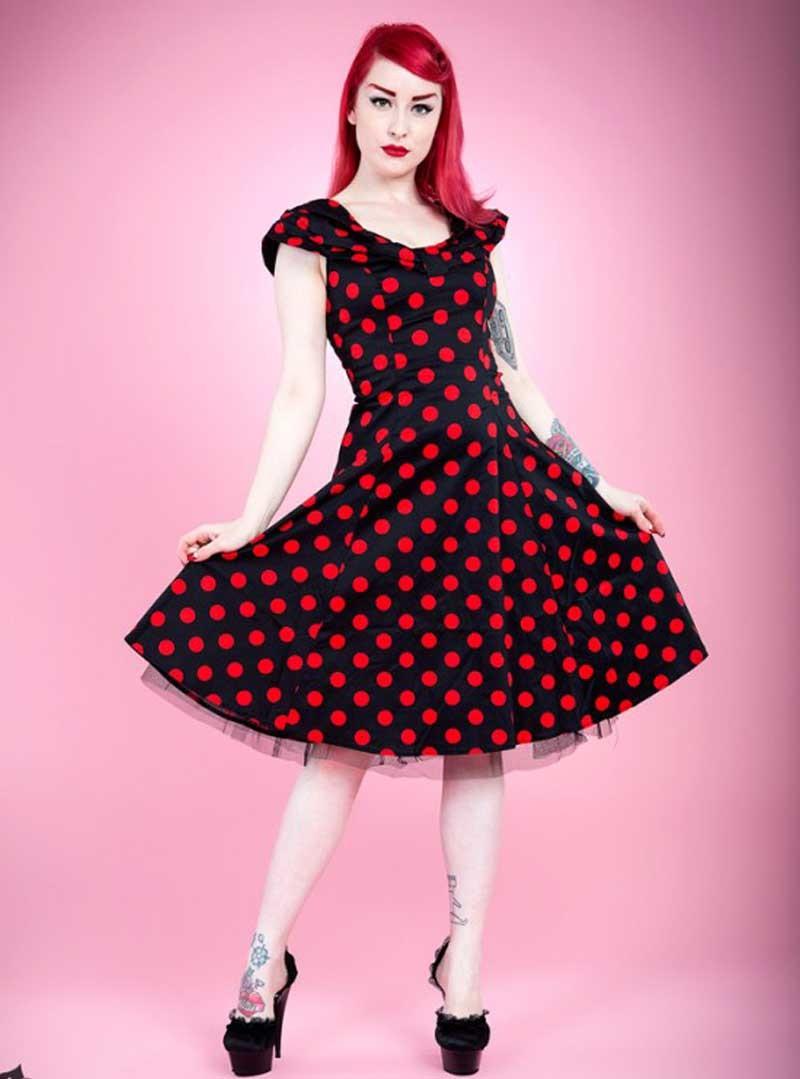 """Vintage Année 50 en ce qui concerne robe rockabilly vintage années 50 hr london """"black red big dot"""