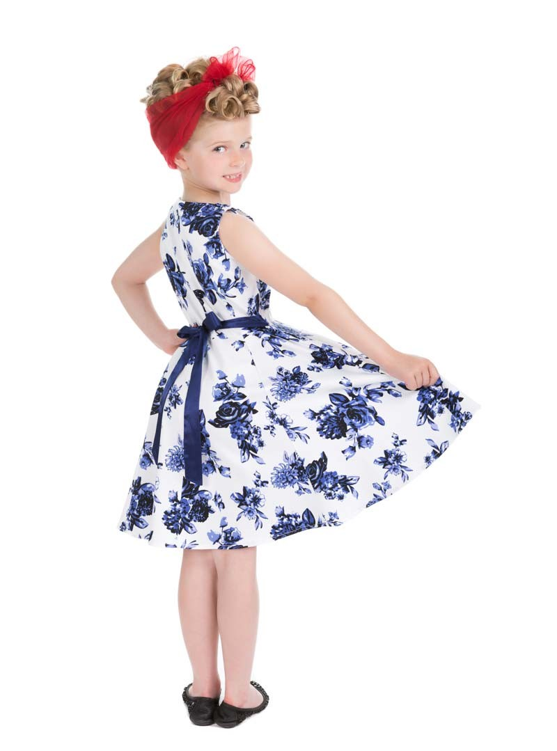 robe enfant fille rockabilly pin up vintage hr london blue flowers. Black Bedroom Furniture Sets. Home Design Ideas