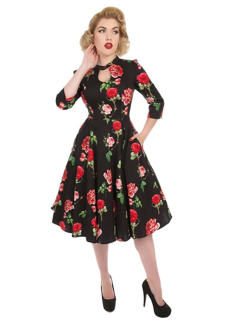 robe pin up rockabilly vintage hr london black red roses. Black Bedroom Furniture Sets. Home Design Ideas