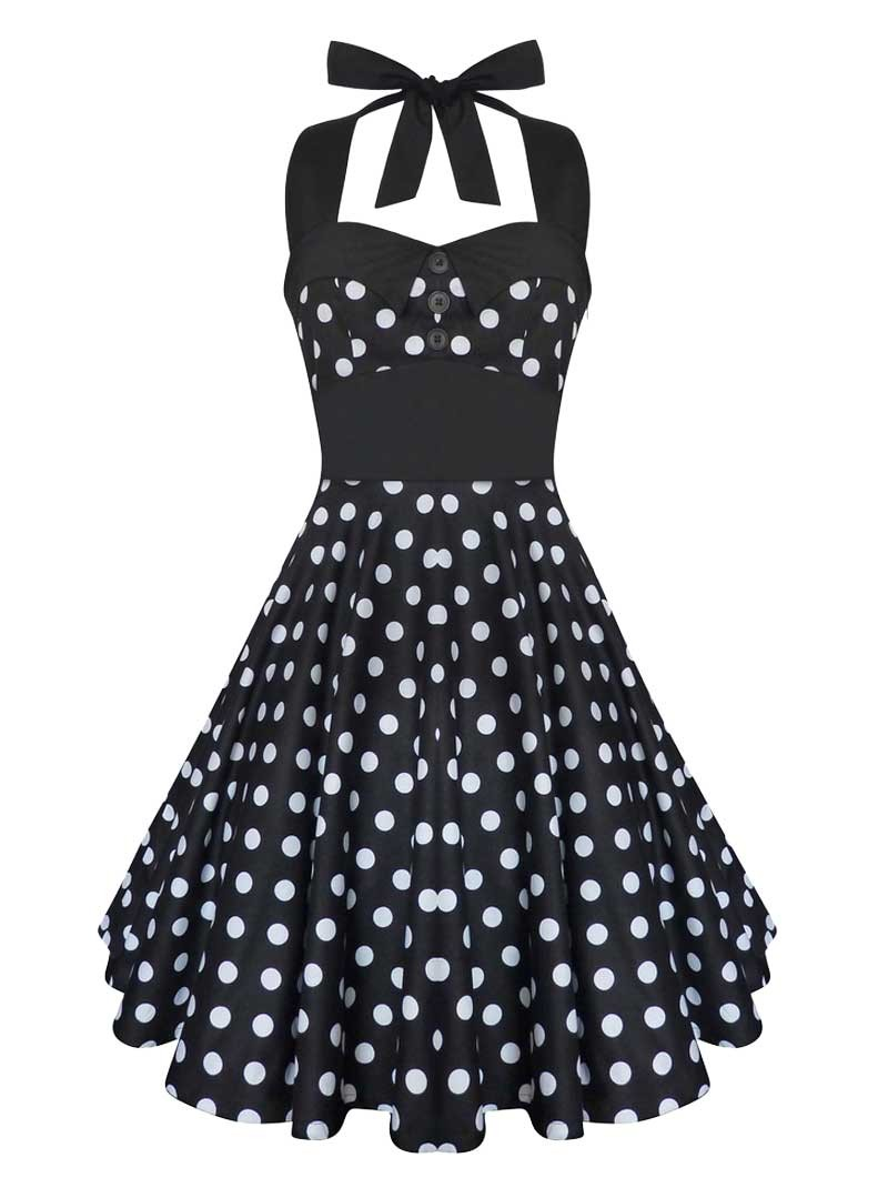 robe rockabilly vintage swing ashley black white polka dots. Black Bedroom Furniture Sets. Home Design Ideas