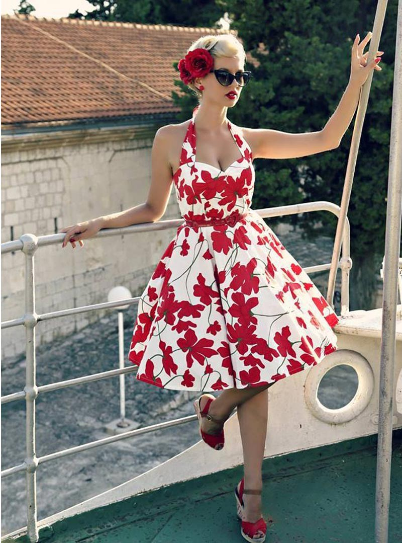 robe pin up rockabilly retro rock ange 39 hell vivien red flowers. Black Bedroom Furniture Sets. Home Design Ideas