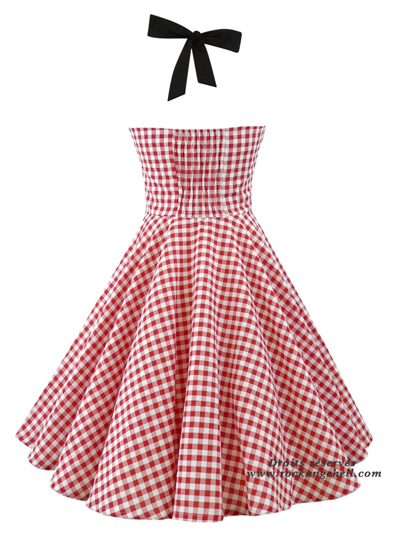Robe rockabilly pin up ann es 50 rock ange 39 hell ashley red vichy - Robe pin up annee 50 ...