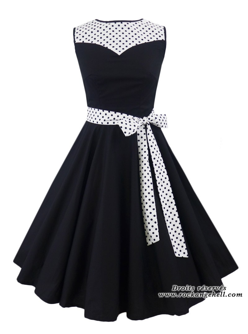 Robe pin up ann es 50 rockabilly rock ange 39 hell olivia white black dots - Robe pin up annee 50 ...