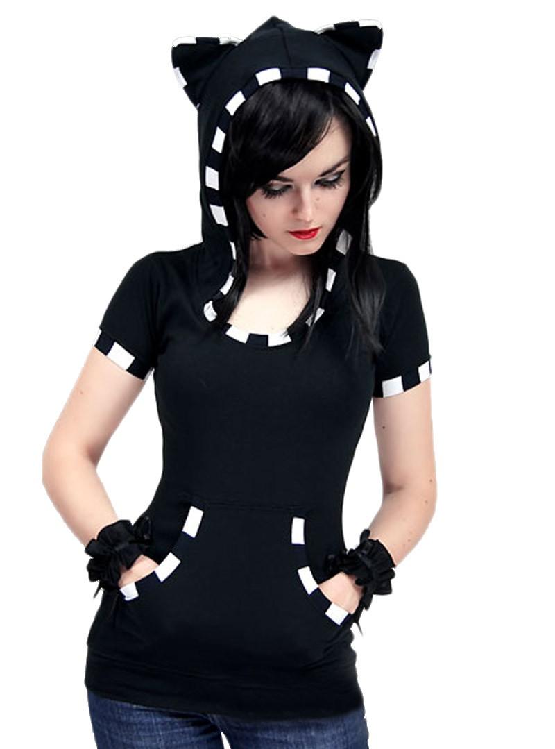 tee shirt capuche chat kawaii gothique black white cat. Black Bedroom Furniture Sets. Home Design Ideas