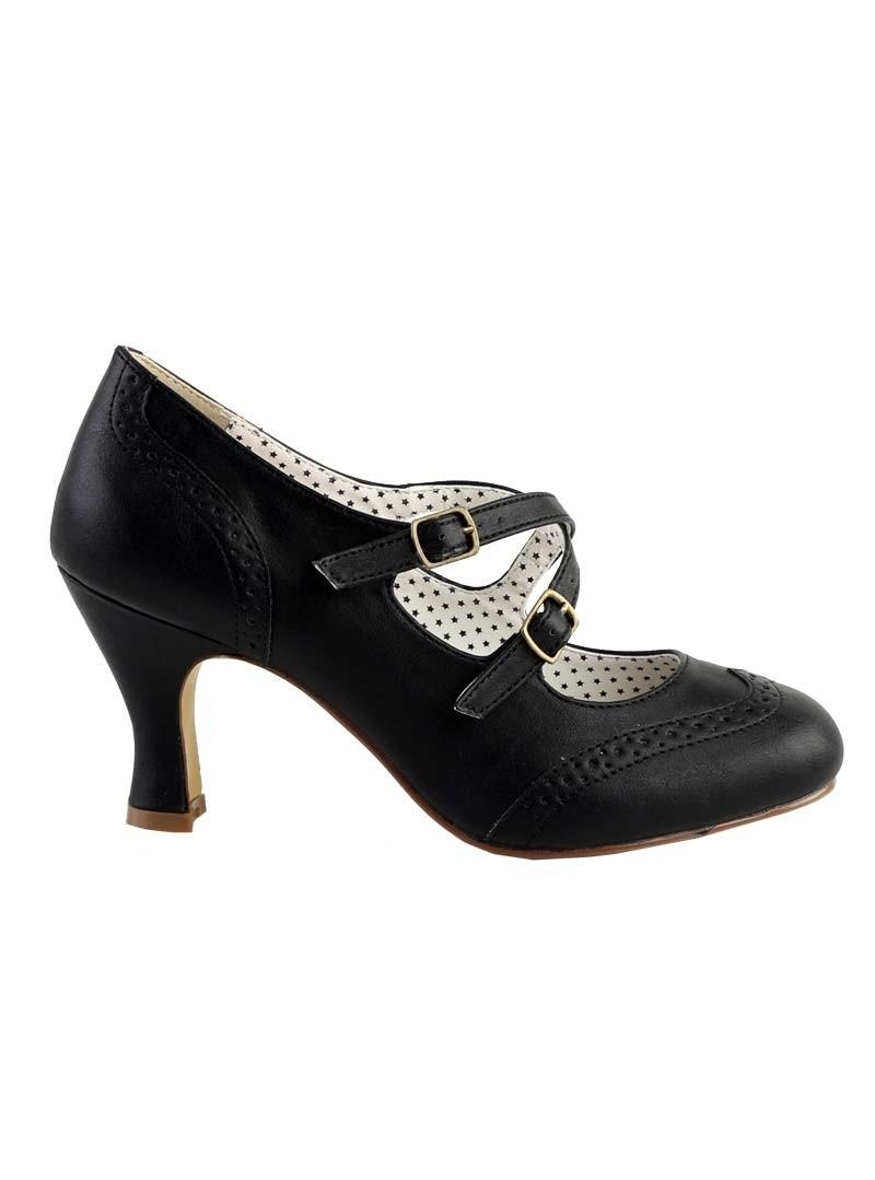 chaussures escarpins ann es 50 rockabilly pin up couture flapper black crossed. Black Bedroom Furniture Sets. Home Design Ideas