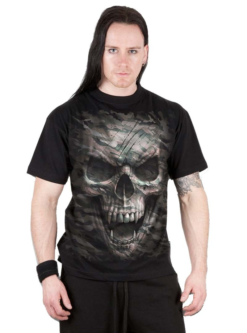 tee shirt homme rock gothique spiral camo skull. Black Bedroom Furniture Sets. Home Design Ideas