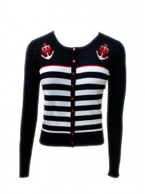 """Gilet Cardigan Sailor Rockabilly Vintage Banned """"Private Party"""""""