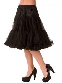 Jupon Noir Rockabilly Gothique Vintage Banned 60 cm