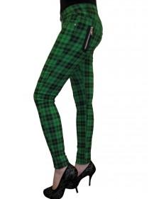"""Pantalon slim écossais vert Punk Rock Banned """"Green Tartan"""""""