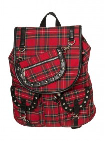 "Sac à Dos Punk Rock Banned ""Red Tartan"" - rockangehell.com"