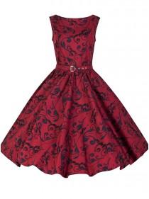 """Robe Rockabilly Retro Vintage Chicstar """"Audrey Red Brocart"""" - rockangehell.com"""
