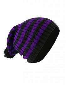 """Bonnet Punk Rock noir/violet Vixxsin (Evil Clothing) """"Purple Stripes"""""""