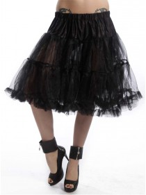 "Jupon 52 cm Rockabilly Gothique Poizen Industries (Evil Clothing) ""Midi Petticoat Black"" - rockangehell.com"