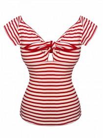 "Tee-shirt Sailor Rockabilly Retro Hell Bunny ""Dolly Red Stripes"" - rockangehell.com"