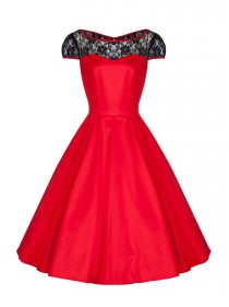 "Robe Rockabilly Gothique HR London ""Red Black Net"""