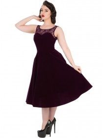 "Robe Velours Rockabilly Gothique HR London ""Purple Velvet Romance"""