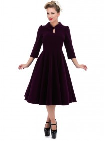 "Robe Velours Rockabilly Gothique HR London ""Purple Velvet Glamour"""