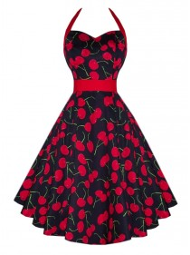 "Robe Rockabilly Retro Vintage HR London ""White Red Cherry"""