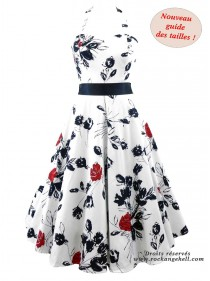 "Robe Rockabilly Pin-Up Années 50 HR London ""Divine Rosa"" - rockangehell.com"