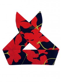 "Foulard Cheveux Pin-Up Années 50 Vintage Rock Ange'Hell ""Black Red Flowers"" - rockangehell.com"
