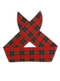"Foulard Cheveux Rock Punk Rockabilly Rock Ange'Hell ""Red Gold Tartan"" - rockangehell.com"
