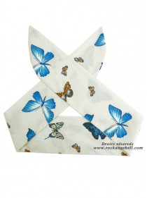 "Foulard Cheveux Rockabilly Retro Swing Papillon Rock Ange'Hell ""Blue Butterfly"" - rockangehell.com"
